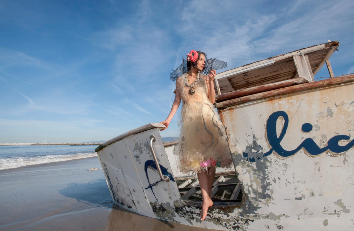 Marina DeBris dress made from discarded fishing nets