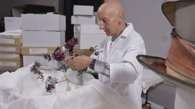 Have you met Mr. Jones? The man himself, hard at work on hats for the Dior exhibition.