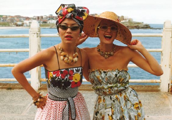 Jenny Kee (left) wearing Linda Jackson's Tutti Frutti dress and Linda Jackson (right) in 1975. Photograph by Ann Noon