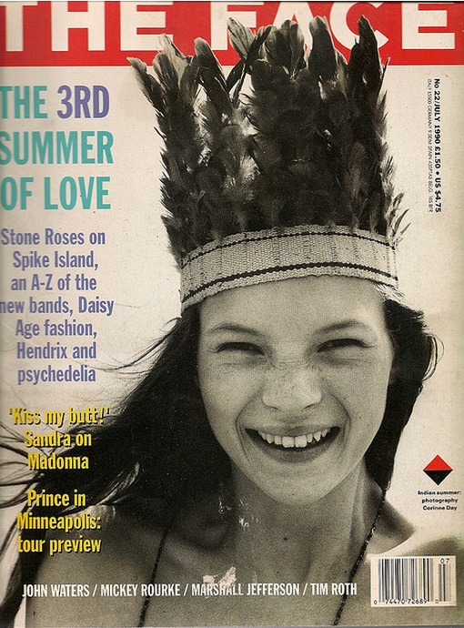 Kate Moss on the cover of The Face, shot by Corrine Day, 1990