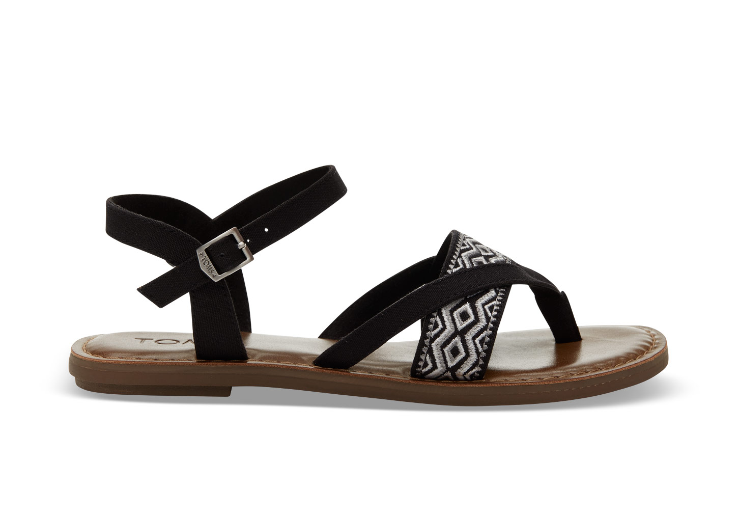 Black canvas embroidery sandals, rubber soles, $69.95