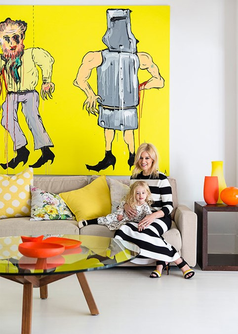 At home with daughter Paloma, photographed for Marie Claire magazine