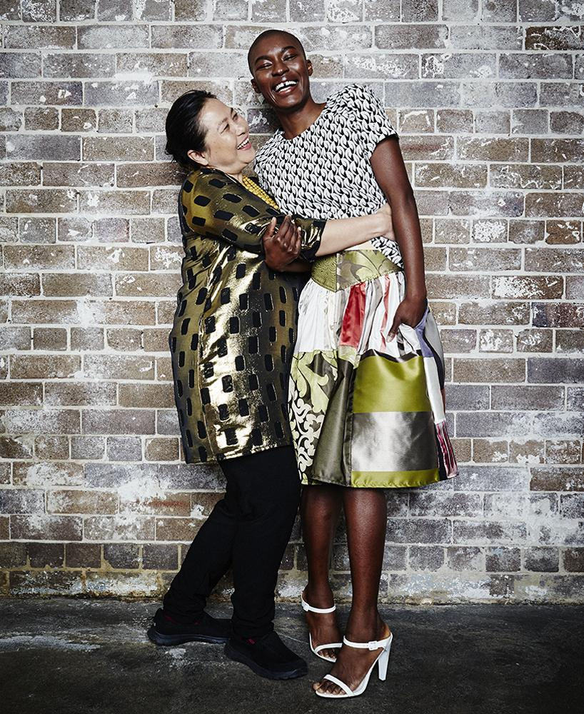 Seamstress Naw Esther with model Memu wearing The Social Outfit, photographed by Harold David.