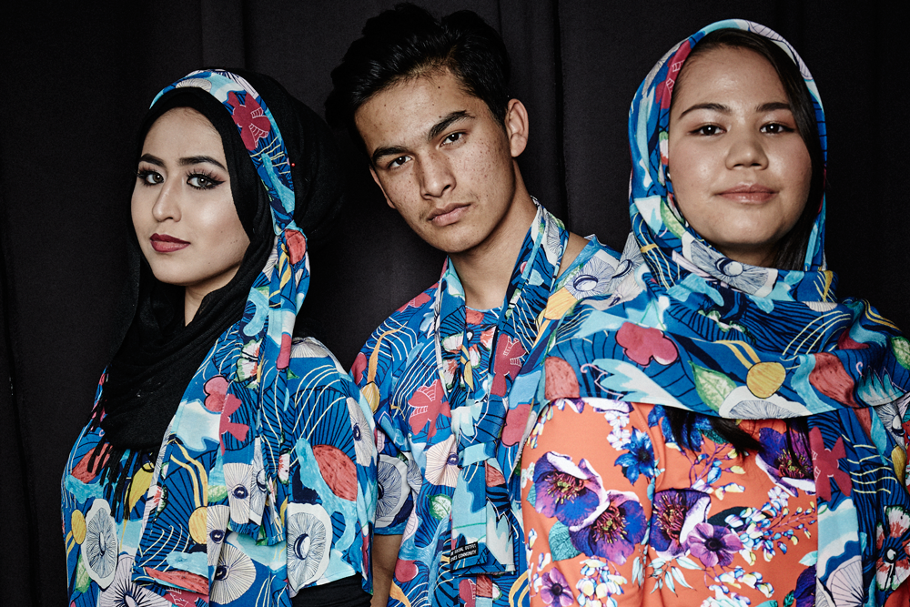 Digital prints created by young people from Sydney's new migrant and refugee community in the Merrylands area. The prints feature flowers, foliage, mushrooms and more. Each element was drawn or painted by a young person, then combined into this print by The Social Outfit.