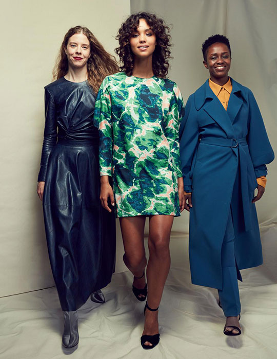 Bianca (left) with models. Available to shop exclusively at David Jones online from 15 April online and the Bourke St and Elizabeth St stores from 16 April.