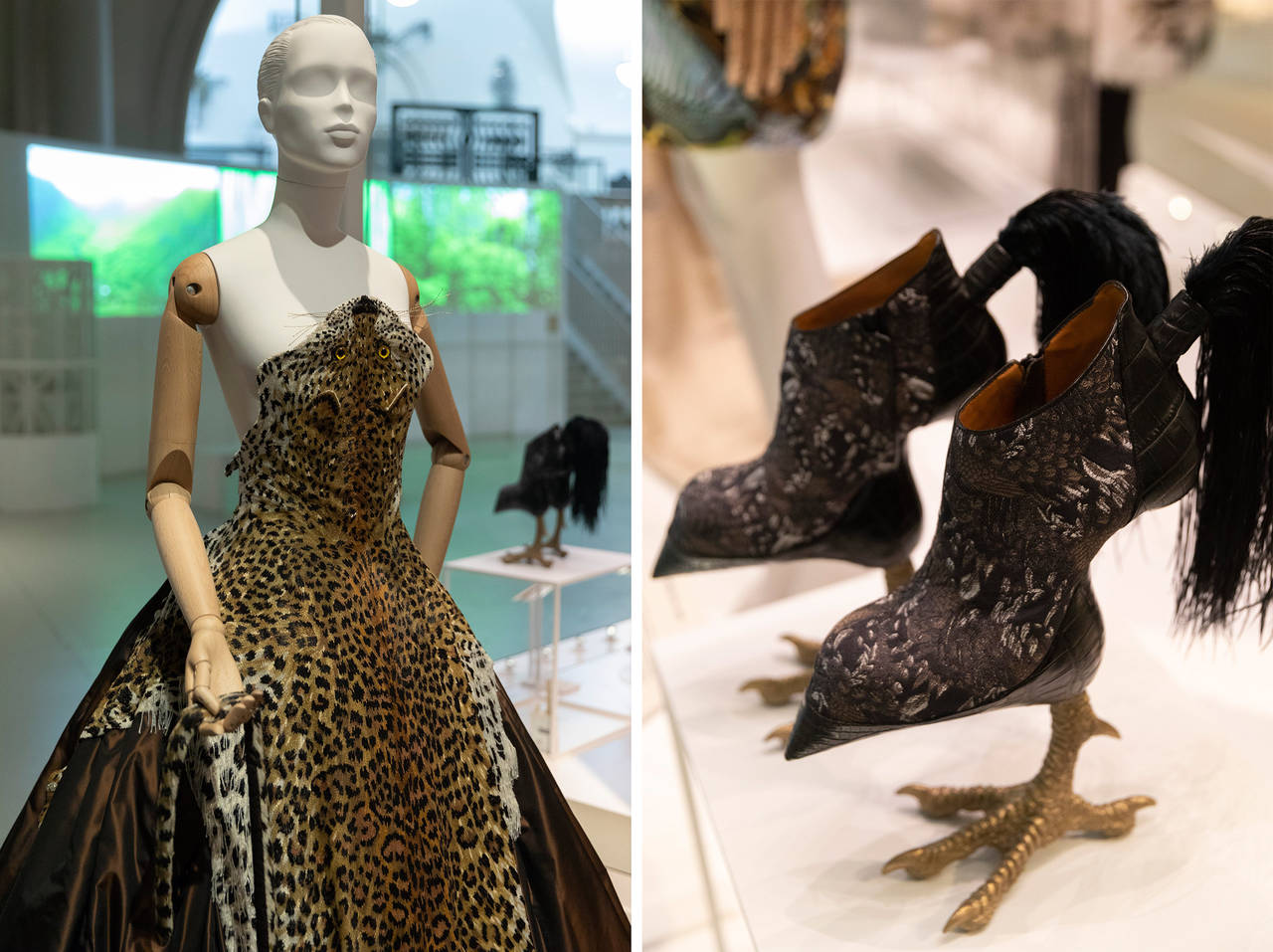 Above left:  No leopard was harmed in the making of this dress -   Jean Paul Gaultier's design is actually made from beads.  Right,  Masaya Kushino's 'Bird Watched' heels © Victoria and Albert Museum, London.