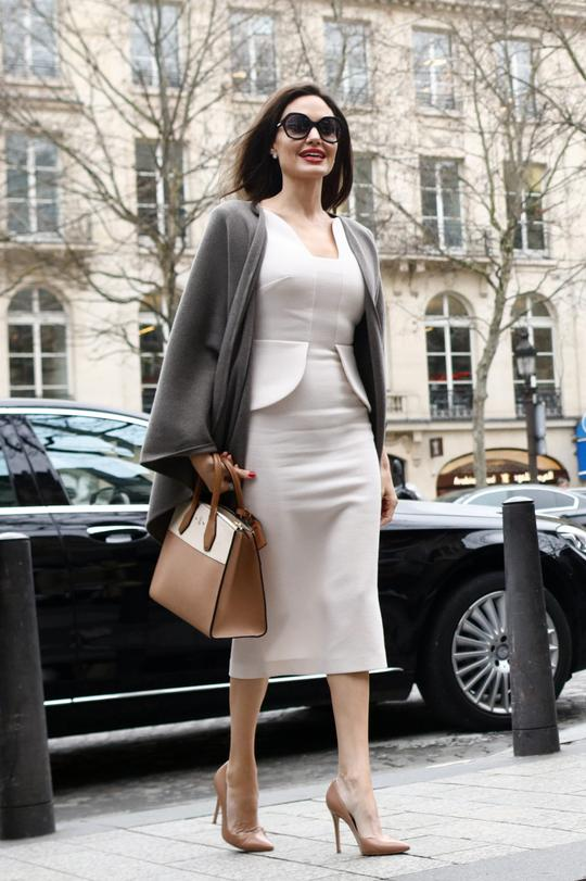 Angelina Jolie wears Roland Mouret in Paris, January 2018
