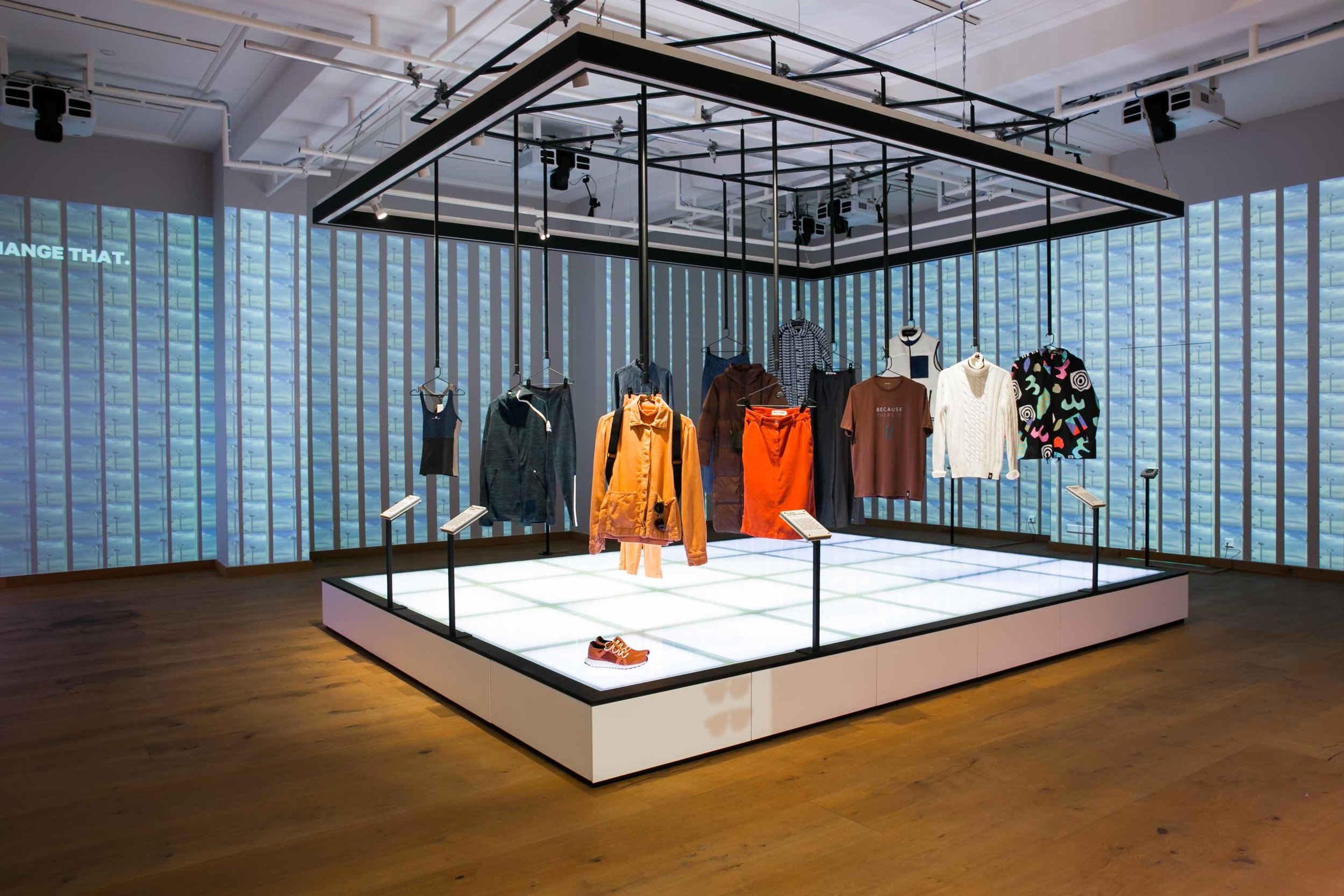 """Good Shop, at the Fashion for Good Experience, showcases current concepts available today. The first theme is """"Splash: Rethinking the Role of Water in Fashion"""" and features products from adidas x Parley, Kings of Indigo, ECOALF, Insane in the Rain, Karün and Ms. Bay."""