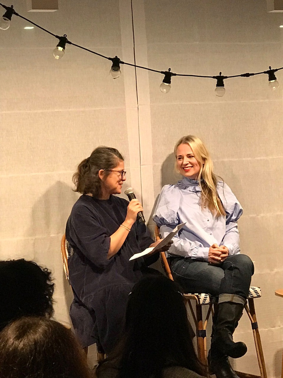 Tamsin interviewing Clare at her book launch at Maiyet, London