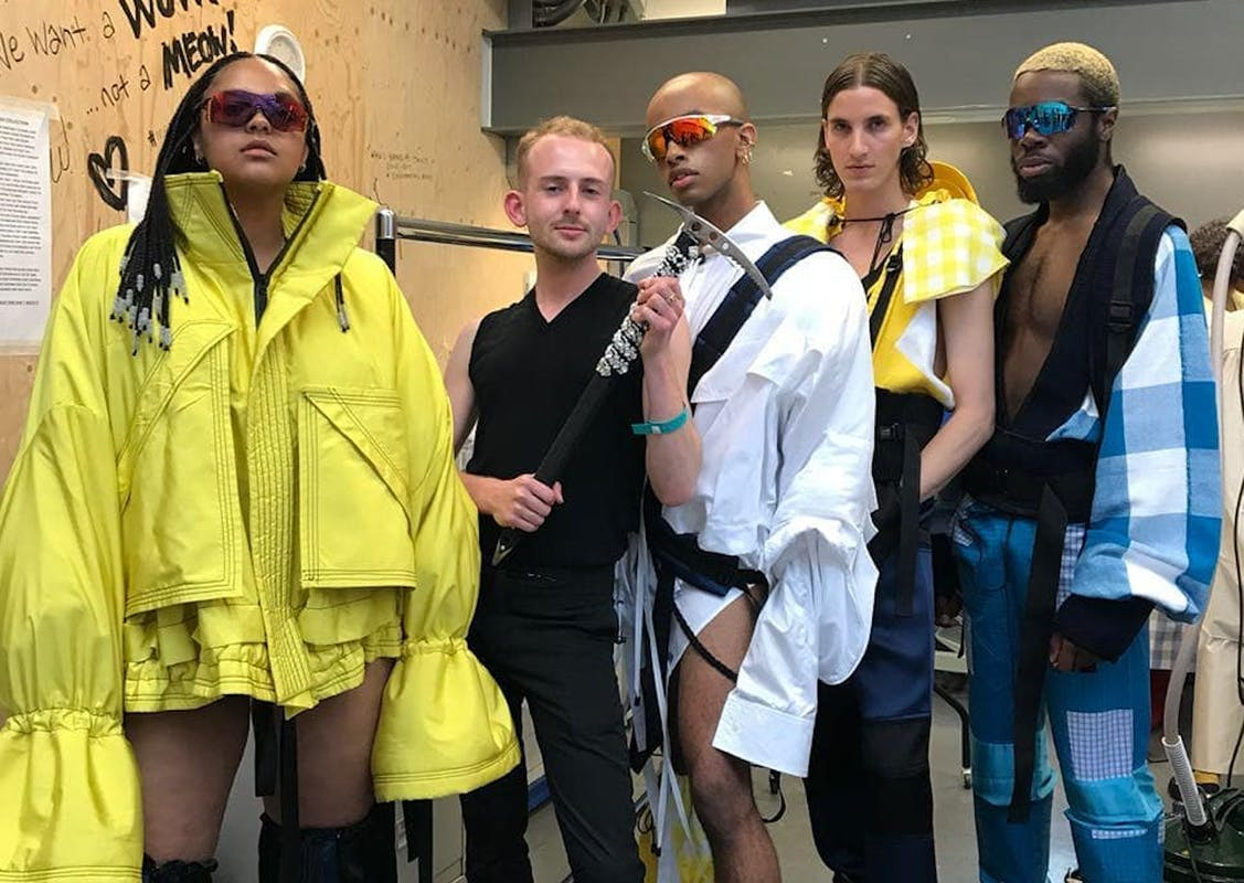 """Patrick McDowell's BA grad collection was inspired by """"a climbing trip my Dad completed to the summit of Mont Blanc (when I was 6 years old) - a commentary on the relationship a gay son has with his father, claiming the hyper-masculine and queering it."""""""