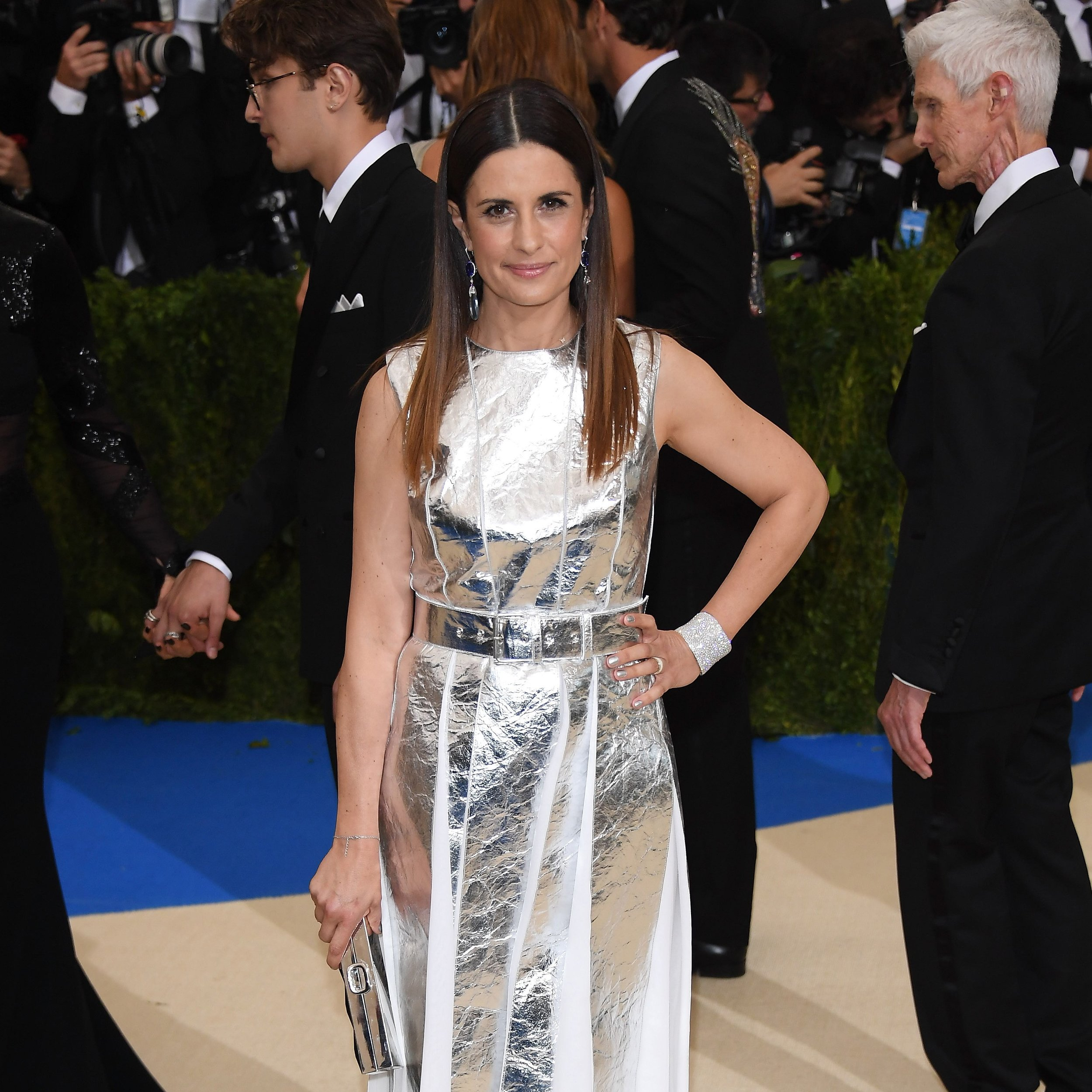 In Laura Strambi, made from silver Pinatex, at the Met Gala 2017