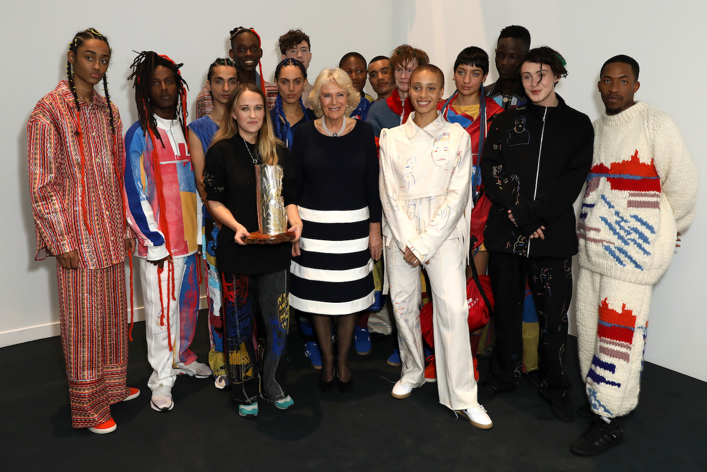 QEII Award 2019 winner Bethany Williams with models, and the Duchess of Cornwall. Photograph Darren Gerrish.