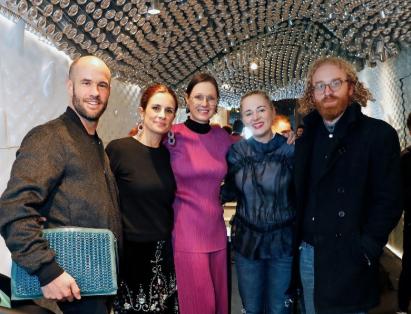 Cameron, Livia Firth, Brooke Roberts-Islam and Ollie Wayman at London Fashion Week