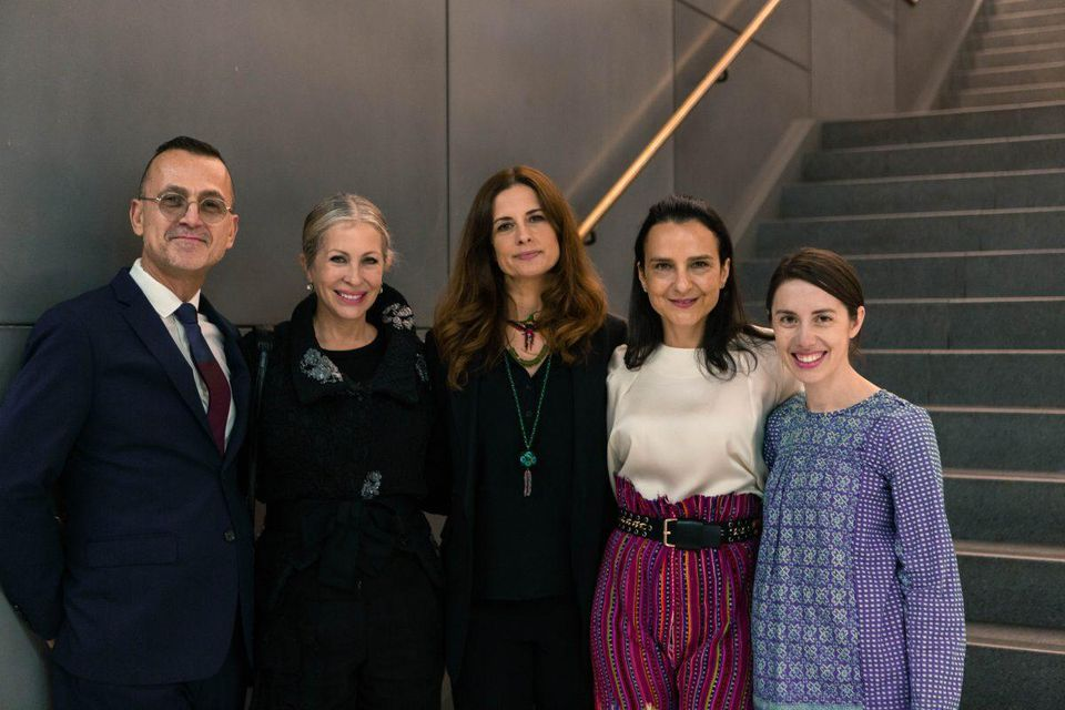Steven Kolb, Carmen Busquets, Livia Firth, Marianne Hernandez, and Rebecca van Bergen at the premiere of Fashionscapes: Artisans Guatemaya. Pic via ECO-AGE,  Photo credit Charlie Johnson