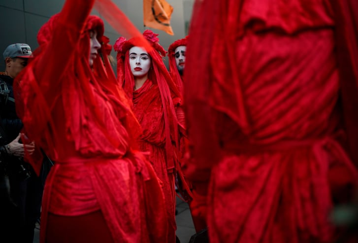 The Red Rebels bring theatre to the protests