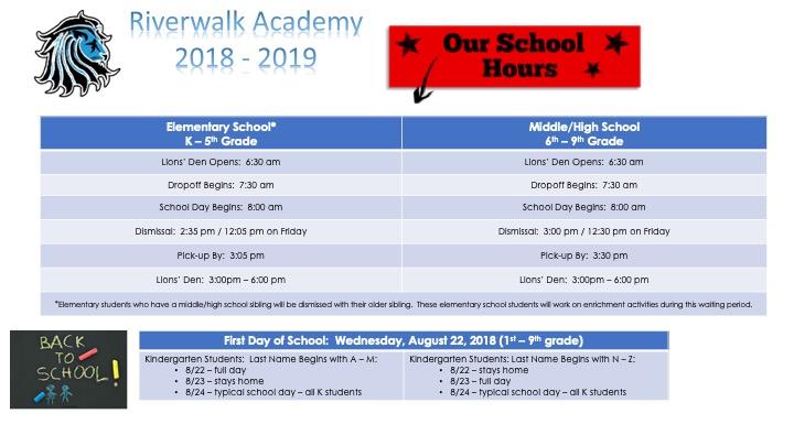 School Hours — Riverwalk Academy