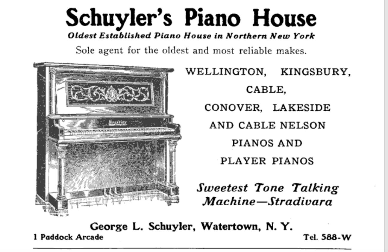 A vintage ad for my family's piano store found in our archives.