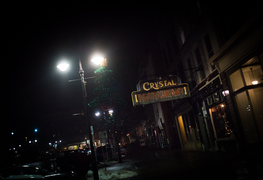 The view of The Crystal Restaurant from Watertown's Public Square. Photo : Michelle Kinney