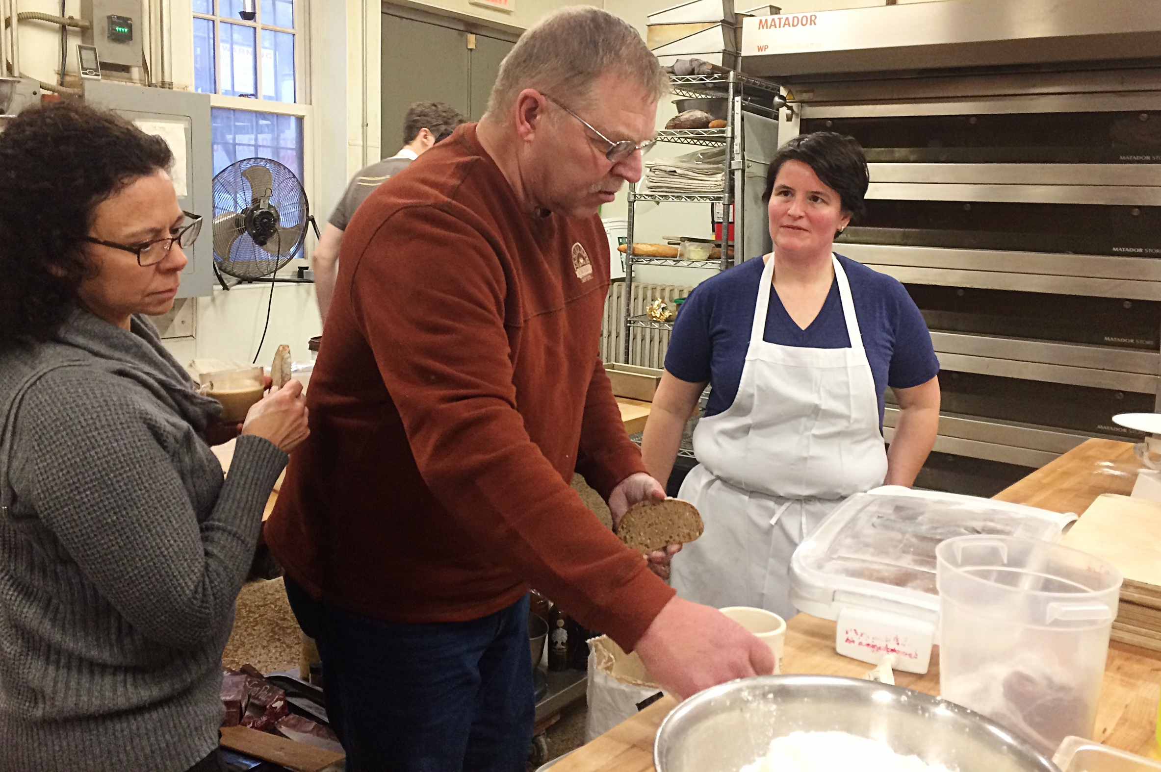 Close collaboration from field to oven is crucial.  Mill manager Jill Brockman-Cummings, mill owner and farmer Harold Wilken, and Ellen King, co-owner and head baker at  Hewn Bakery , discuss the taste and performance of different flours.