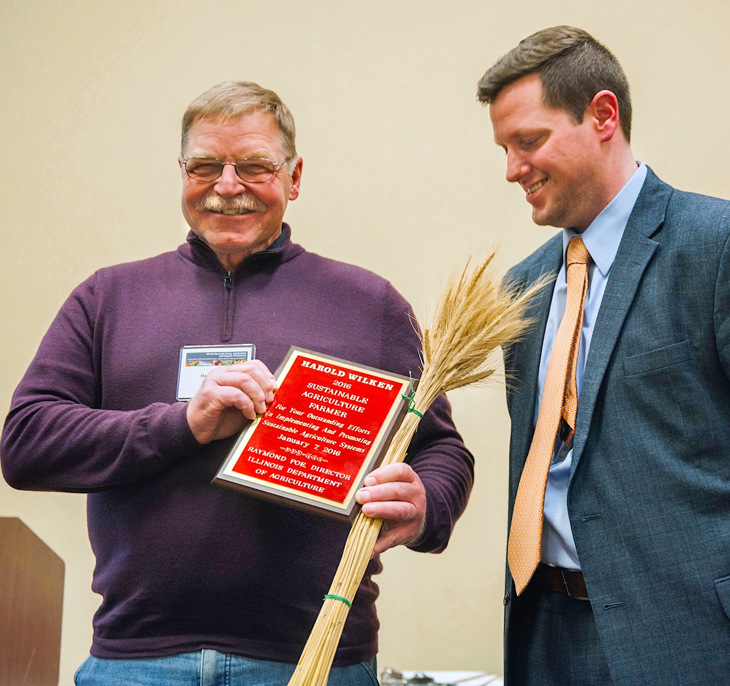 Harold Wilken was honored with the R. J. Vollmer Award by the Illinois Department of Agriculture.
