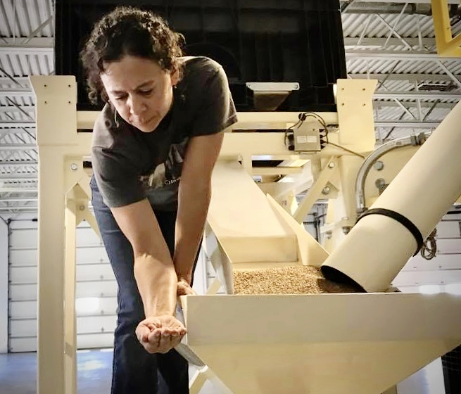 Mill Manager Jill Brockman-Cummings  keeps close watch over every step of the milling process to ensure you get whole kernel flour with maximum taste and nutrition.