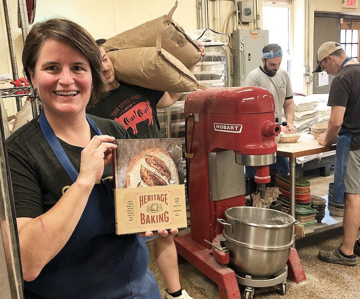 Hewn Bakery co-owner Ellen King holds an advance copy of her book,   Heritage Baking.   It's available for pre-orders now, and will be in bookstores on October 23, 2018.