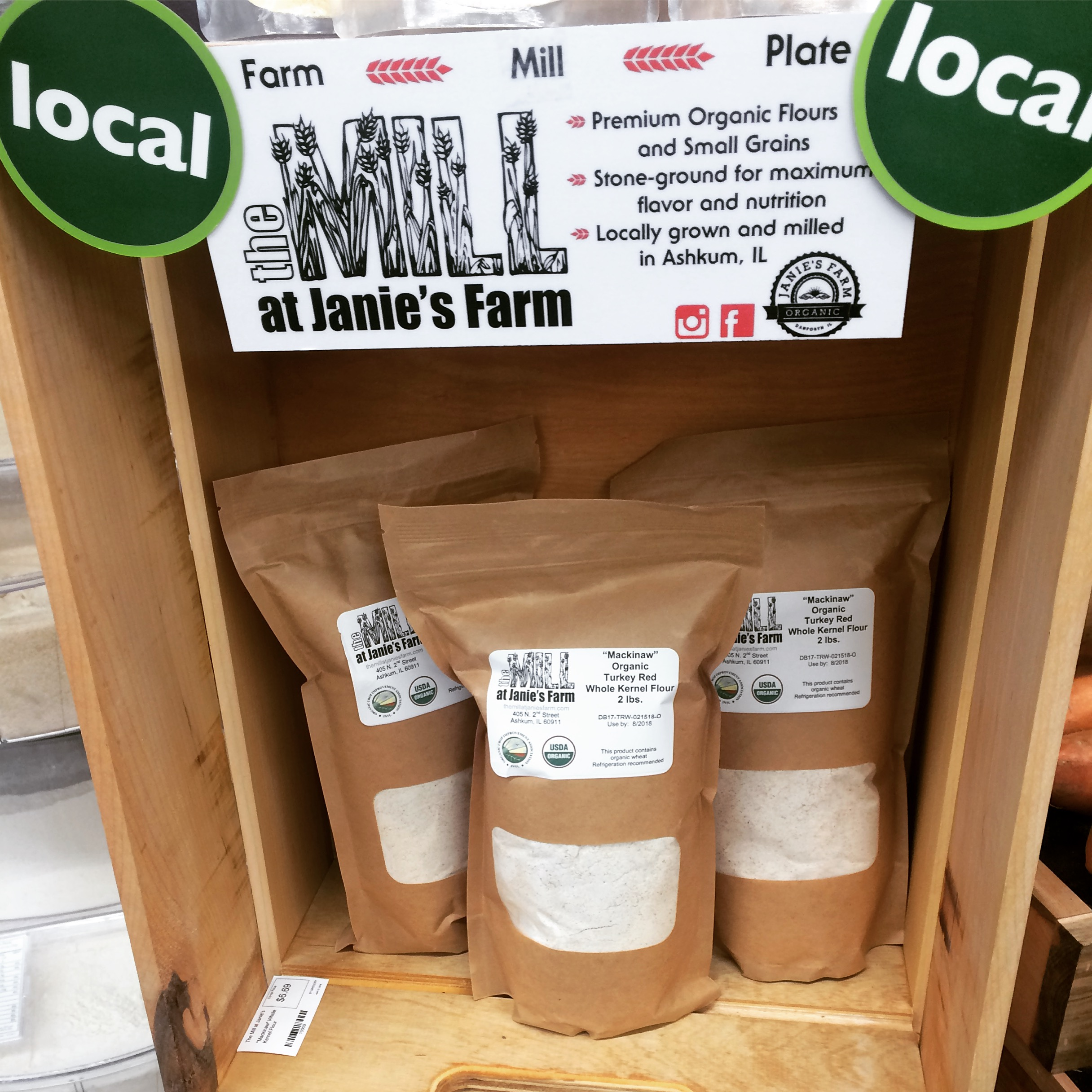 """We love this """"tower of flour"""" display at Green Top Grocery in Bloomington."""