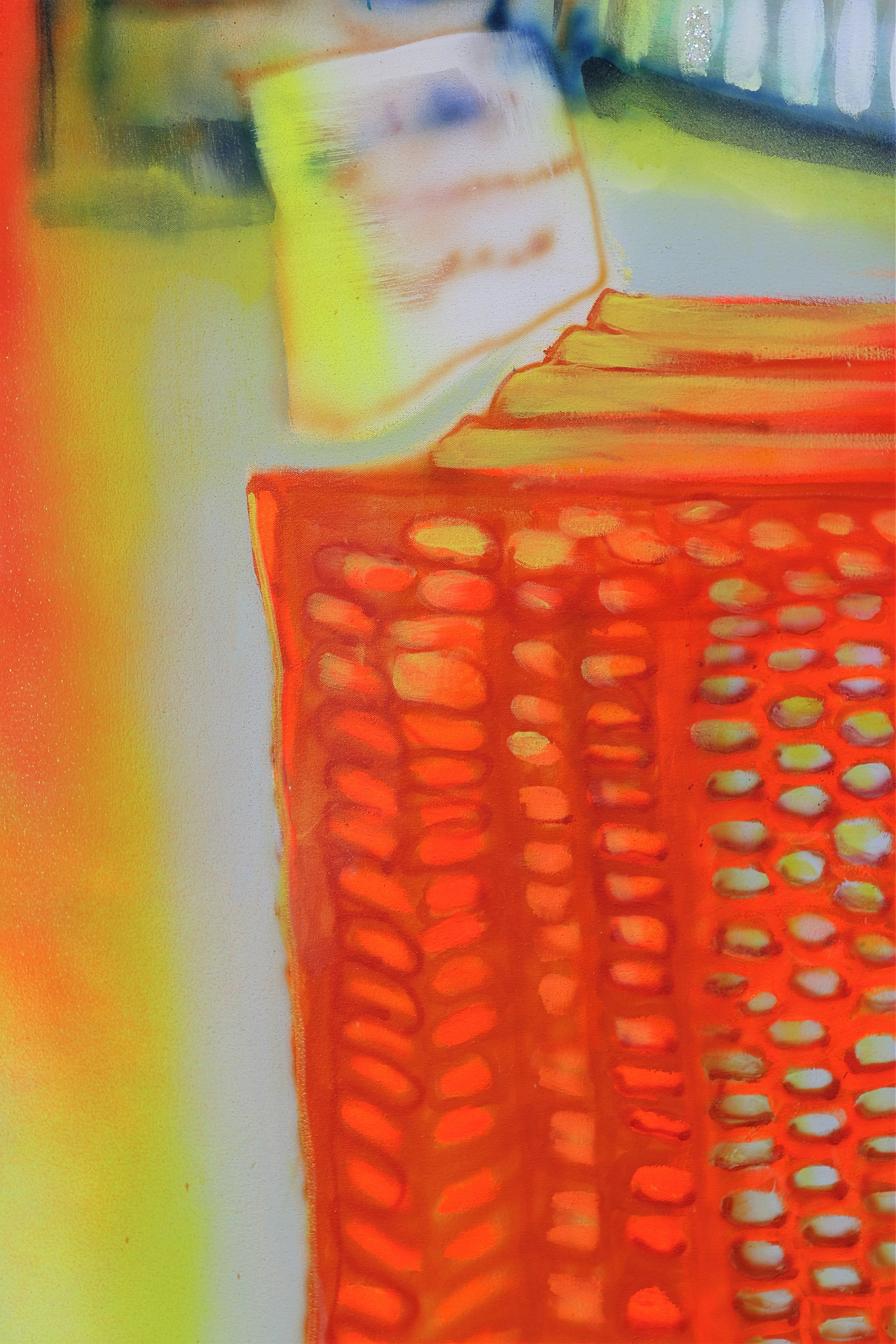 """Detail of   Home Depot    Oil, Airbrush, Spray Paint, Ink, House Paint, Copper Leaf  64"""" x 118""""  2016"""