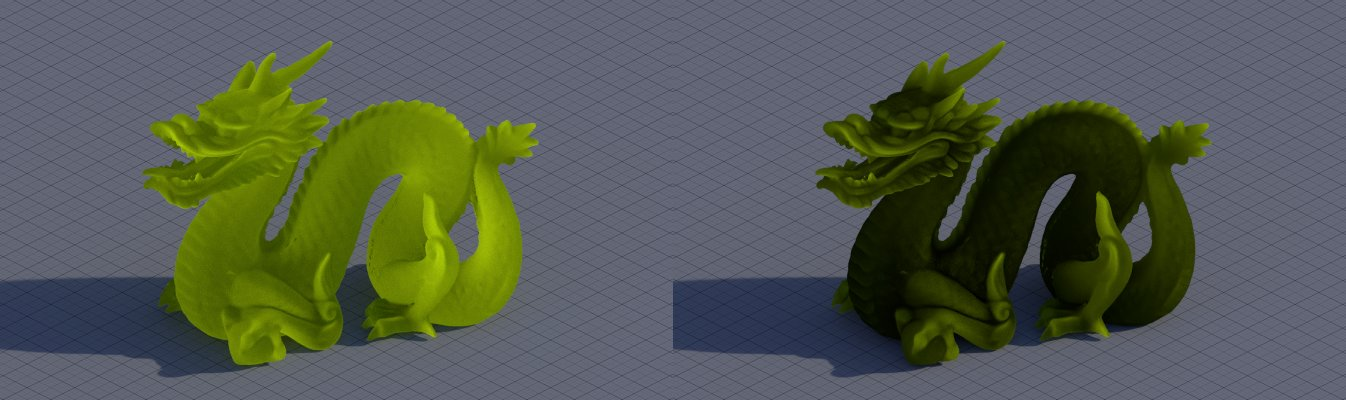Plain Translucent shader vs one with  Ray Length trick