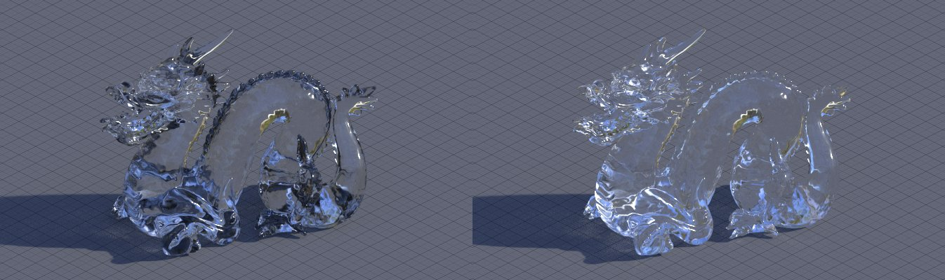 Plain glass vs glass with transparency after 2 bounces