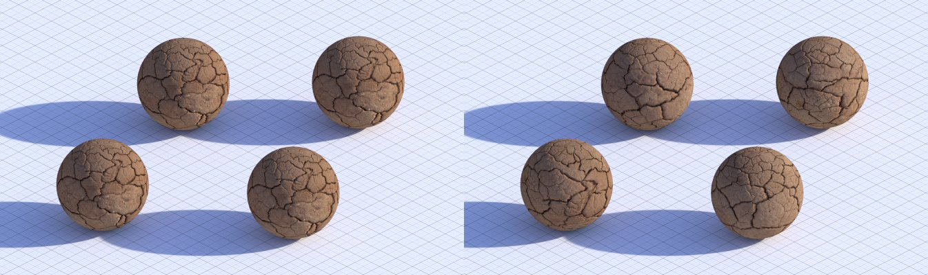 Each sphere looks identical  vs each sphere has different texture mapping
