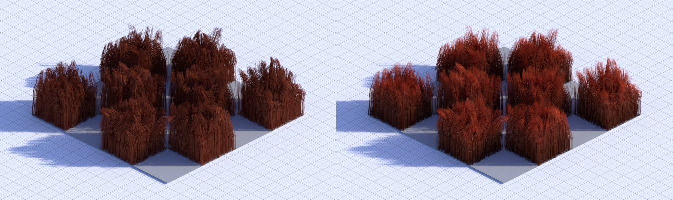 Plain hair shader vs hair shader with varied colour and transparency along the length of the hair