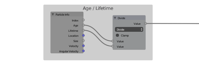 Age divided by  Lifetime will give you a value between 0 and 1 based on how soon the particle will die