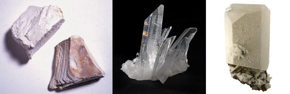 Kaolinite , quartz , feldspar