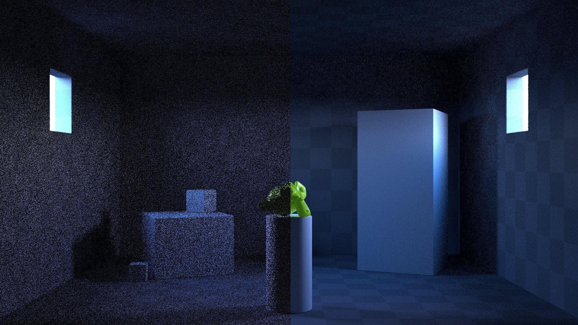 Without portals vs. with portals (almost identical render time).