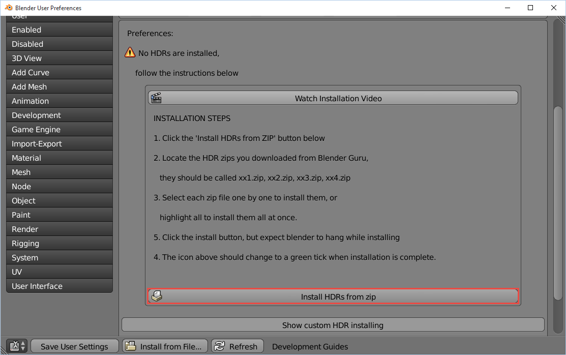 4 install hdr button