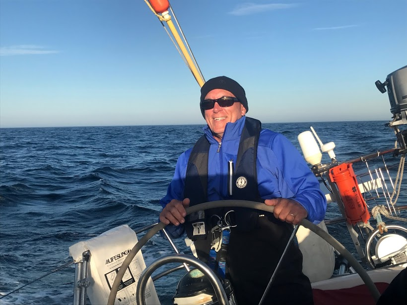 At the helm of Tioga this week, sailing from Bermuda to Boston.