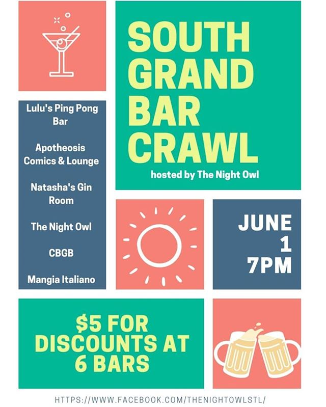 Gin tastings, happy hour all night, a dj, live music, stand up comedy, free food and more all happening next Saturday for only $5!  Tickets are limited, don't miss out.  https://www.eventbrite.com/e/2019-south-grand-bar-crawl-tickets-58695784672  #barcrawl #stlouis #stl