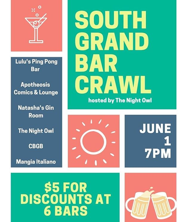 It's tonight! Grab a ticket now before it's too late!  https://www.eventbrite.com/e/2019-south-grand-bar-crawl-tickets-58695784672