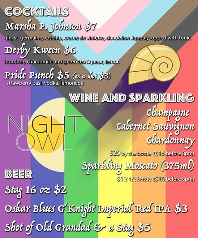 It's pride weekend! We are running specials on beer, shots, wine and cocktails tonight from 6pm until 1am! We have 2 great DJs and we are ready to have a good time.  Stop by tomorrow after the festival for the same tasty cocktails at the same great price plus beer and shot specials!!!! And we are keeping the celebration rolling with endless mimosas & brunch on Sunday morning! ❤💛💚💙💜