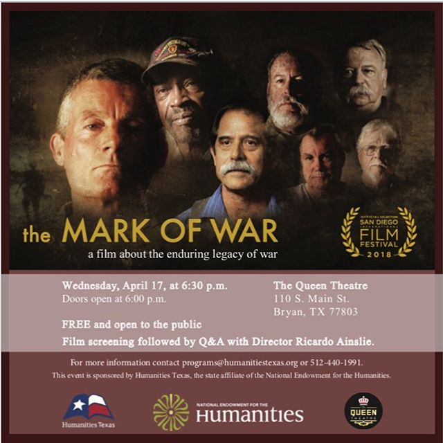 The Mark of War is coming to Bryan, TX on Wednesday, April 17, 2019 at 6:30pm. The doors open at 6:30pm and following the screening, Director Ricardo Ainslie will open up a Q&A session. FREE and open to the public.