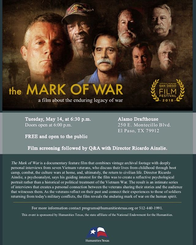 Screening of The Mark of War TONIGHT in El Paso at the Alamo Drafthouse - Monticello. Doors open at 6pm and film begins at 6:30pm. See you there!