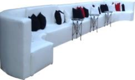 White Leather Low Back Banquette