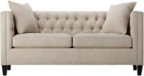 Tufted Linen Club Sofa