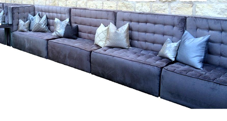 Pewter Velvet Tufted Banquette Collection