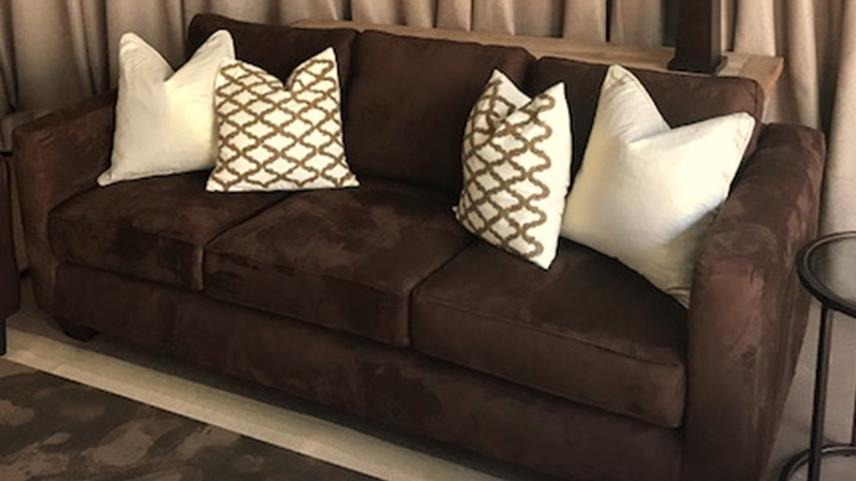 Brown Suede Sofa
