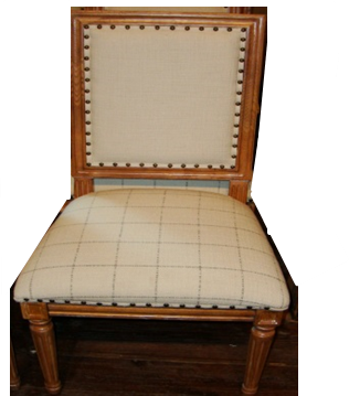 Linen and Wood Dining Chair
