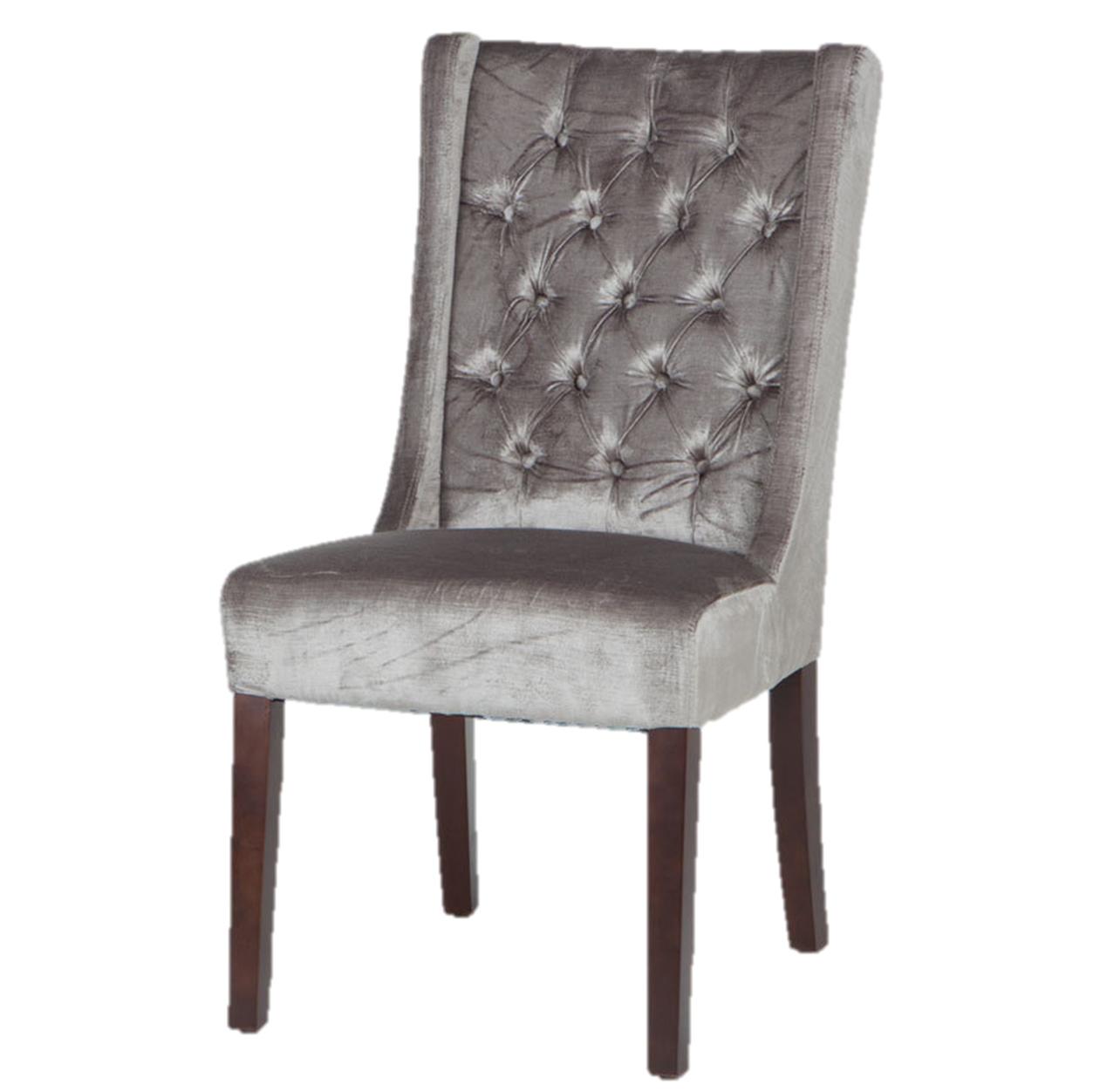 Pewter Velvet Tufted Dining Chair