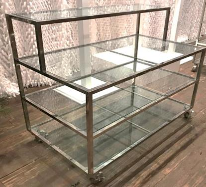 Chrome and Glass 2 Tiered Table