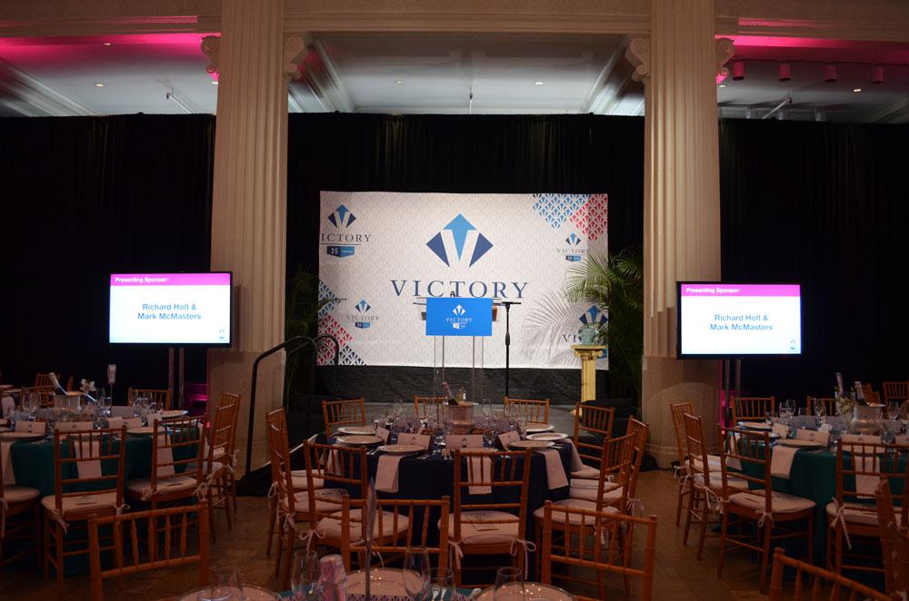 Acrylic Podium, Stage Illumination, and LCD Screens